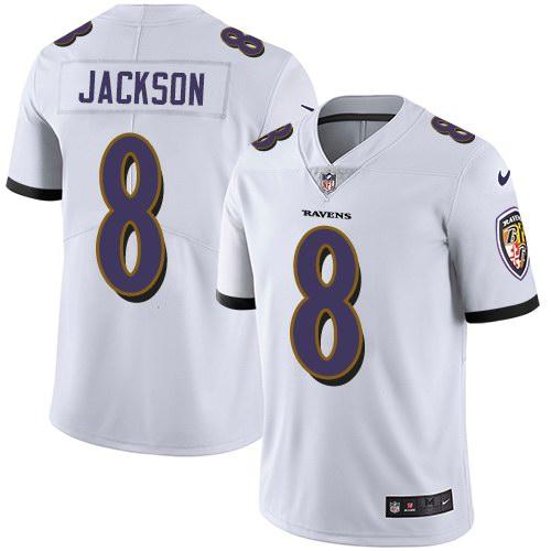 Nike Ravens 8 Lamar Jackson White Youth Vapor Untouchable Limited Jersey