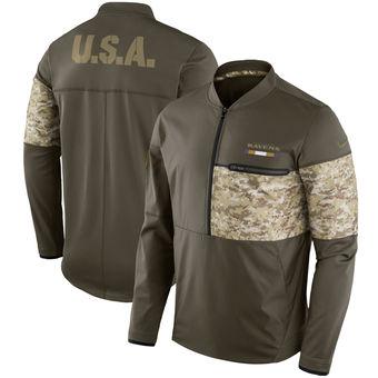 Nike Ravens Olive Salute to Service Sideline Hybrid Half-Zip Pullover Jacket