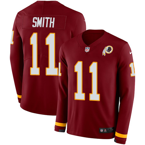 Nike Redskins #11 Alex Smith Burgundy Red Team Color Men's Stitched NFL Limited Therma Long Sleeve Jersey