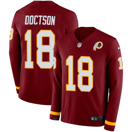 Nike Redskins #18 Josh Doctson Burgundy Red Team Color Men's Stitched NFL Limited Therma Long Sleeve Jersey