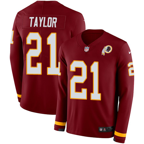 Nike Redskins #21 Sean Taylor Burgundy Red Team Color Men's Stitched NFL Limited Therma Long Sleeve Jersey