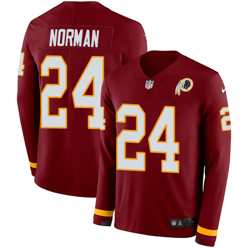 Nike Redskins #24 Josh Norman Burgundy Red Team Color Men's Stitched NFL Limited Therma Long Sleeve Jersey