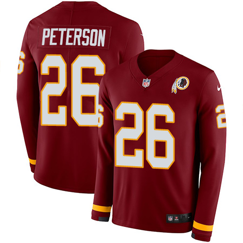 Nike Redskins #26 Adrian Peterson Burgundy Red Team Color Men's Stitched NFL Limited Therma Long Sleeve Jersey