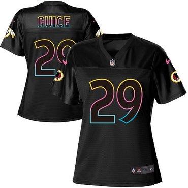 Nike Redskins #29 Derrius Guice Black Women's NFL Fashion Game Jersey