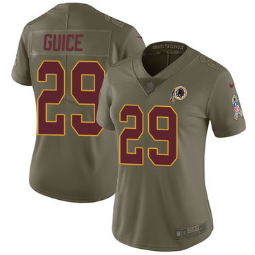Nike Redskins #29 Derrius Guice Olive Women's Stitched NFL Limited 2017 Salute to Service Jersey