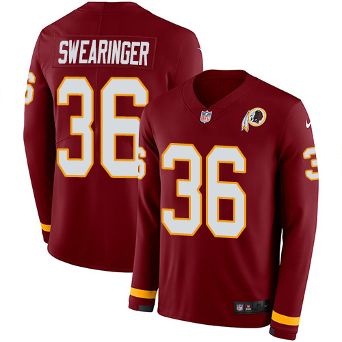 Nike Redskins #36 D.J. Swearinger Burgundy Red Team Color Men's Stitched NFL Limited Therma Long Sleeve Jersey