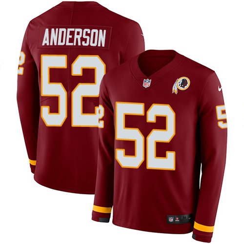 Nike Redskins #52 Ryan Anderson Burgundy Red Team Color Men's Stitched NFL Limited Therma Long Sleeve Jersey