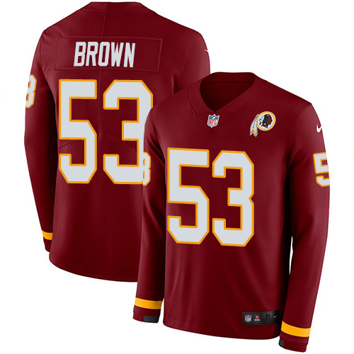 Nike Redskins #53 Zach Brown Burgundy Red Team Color Men's Stitched NFL Limited Therma Long Sleeve Jersey
