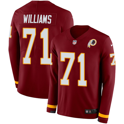 Nike Redskins #71 Trent Williams Burgundy Red Team Color Men's Stitched NFL Limited Therma Long Sleeve Jersey