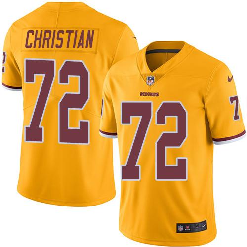 Nike Redskins #72 Geron Christian Gold Men's Stitched NFL Limited Rush Jersey