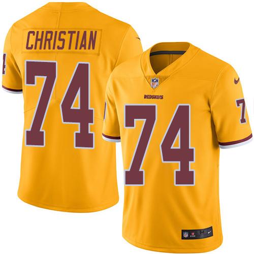 Nike Redskins #74 Geron Christian Gold Men's Stitched NFL Limited Rush Jersey