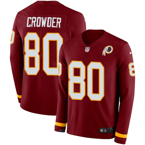 Nike Redskins #80 Jamison Crowder Burgundy Red Team Color Men's Stitched NFL Limited Therma Long Sleeve Jersey