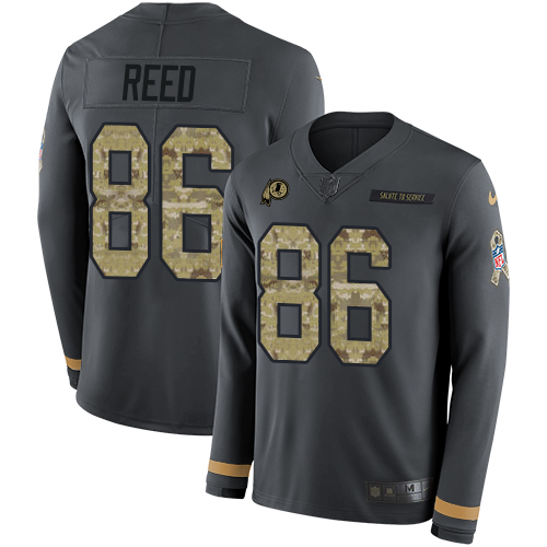 Nike Redskins #86 Jordan Reed Anthracite Salute to Service Men's Stitched NFL Limited Therma Long Sleeve Jersey