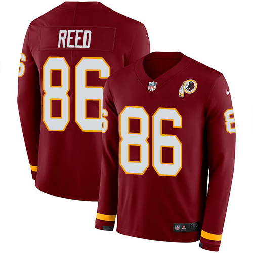 Nike Redskins #86 Jordan Reed Burgundy Red Team Color Men's Stitched NFL Limited Therma Long Sleeve Jersey