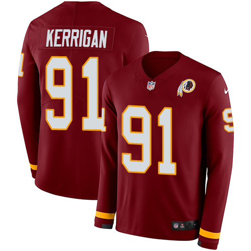 Nike Redskins #91 Ryan Kerrigan Burgundy Red Team Color Men's Stitched NFL Limited Therma Long Sleeve Jersey
