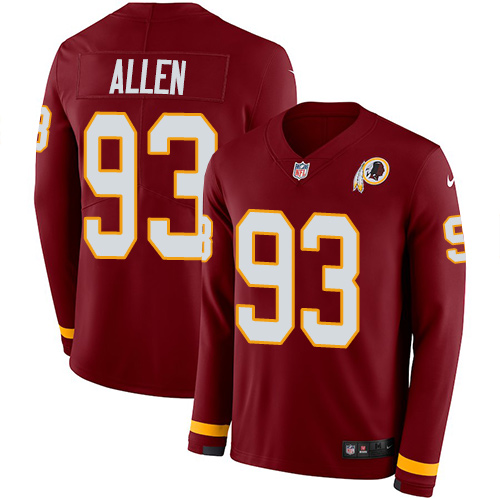Nike Redskins #93 Jonathan Allen Burgundy Red Team Color Men's Stitched NFL Limited Therma Long Sleeve Jersey