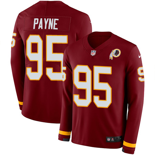 Nike Redskins #95 Da'Ron Payne Burgundy Red Team Color Men's Stitched NFL Limited Therma Long Sleeve Jersey
