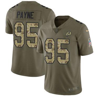 Nike Redskins #95 Da'Ron Payne Olive Camo Youth Stitched NFL Limited 2017 Salute to Service Jersey