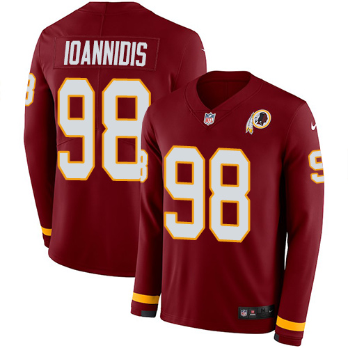 Nike Redskins #98 Matt Ioannidis Burgundy Red Team Color Men's Stitched NFL Limited Therma Long Sleeve Jersey