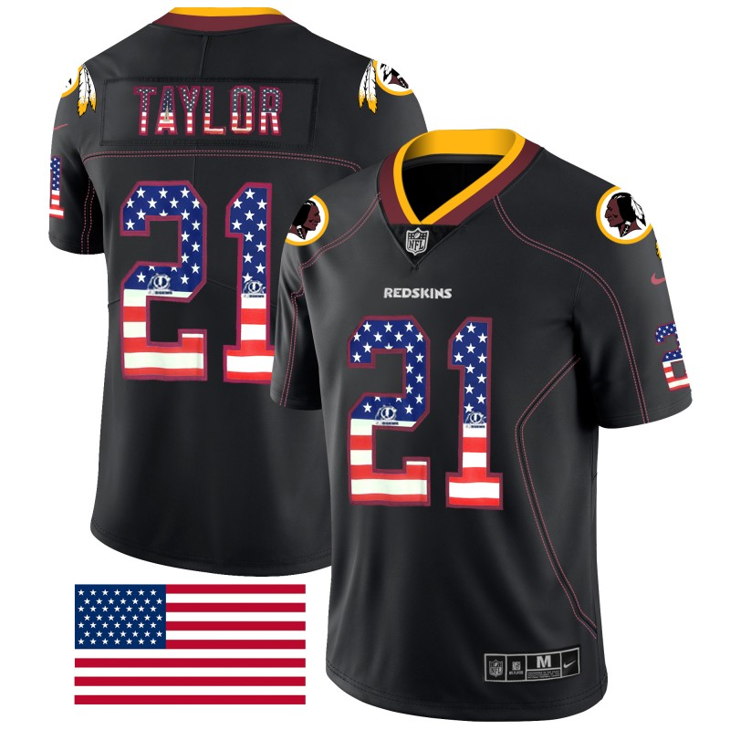 Nike Redskins 21 Sean Taylor Black USA Flag Fashion Limited Jersey