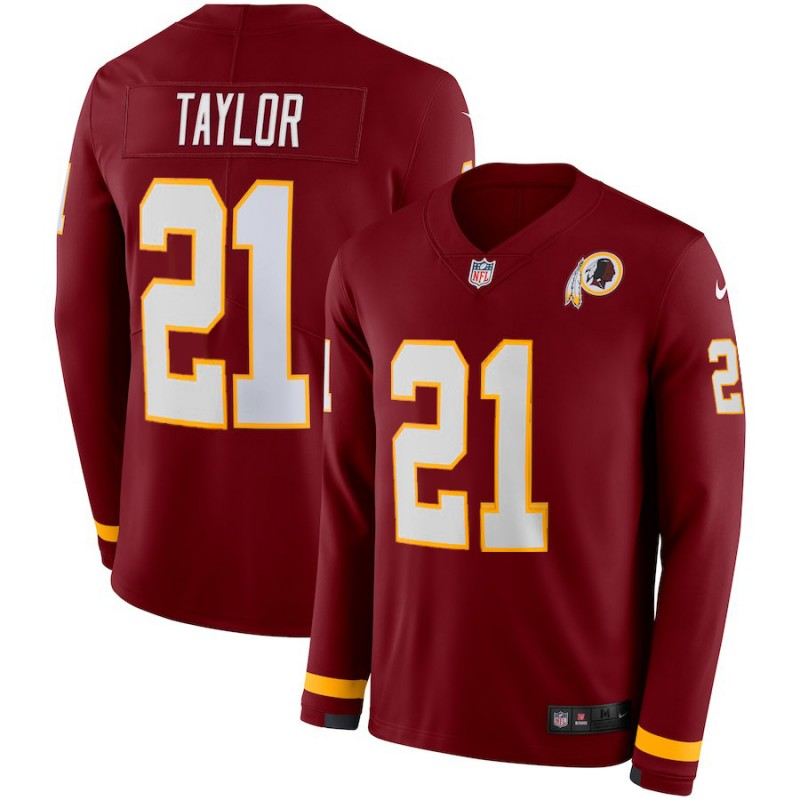 Nike Redskins 21 Sean Taylor Red Therma Long Sleeve Jersey