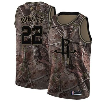 Nike Rockets #22 Clyde Drexler Camo Women's NBA Swingman Realtree Collection Jersey
