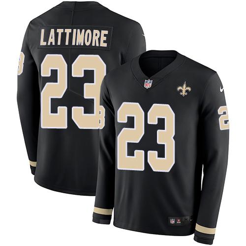 Nike Saints #23 Marshon Lattimore Black Team Color Men's Stitched NFL Limited Therma Long Sleeve Jersey