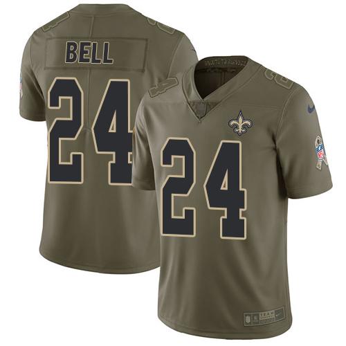 Nike Saints #24 Vonn Bell Olive Men's Stitched NFL Limited 2017 Salute To Service Jersey