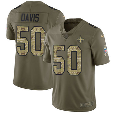 Nike Saints #50 DeMario Davis Olive Camo Men's Stitched NFL Limited 2017 Salute To Service Jersey