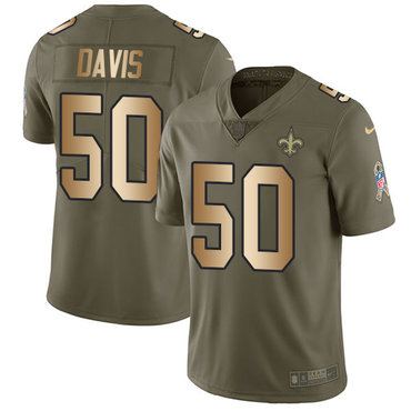 Nike Saints #50 DeMario Davis Olive Gold Men's Stitched NFL Limited 2017 Salute To Service Jersey