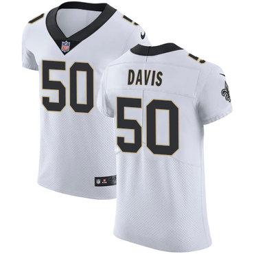Nike Saints #50 DeMario Davis White Men's Stitched NFL Vapor Untouchable Elite Jersey