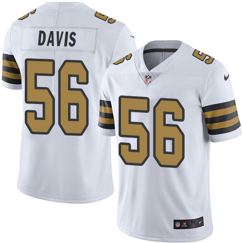 Nike Saints #56 DeMario Davis White Men's Stitched NFL Limited Rush Jersey