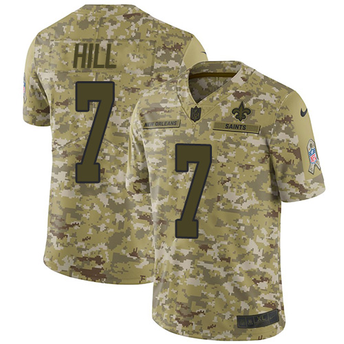 Nike Saints #7 Taysom Hill Camo Men's Stitched NFL Limited 2018 Salute To Service Jersey