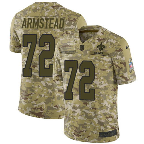 Nike Saints #72 Terron Armstead Camo Men's Stitched NFL Limited 2018 Salute To Service Jersey