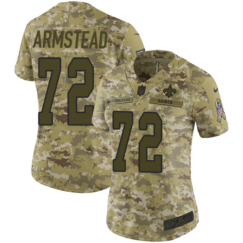 Nike Saints #72 Terron Armstead Camo Women's Stitched NFL Limited 2018 Salute to Service Jersey