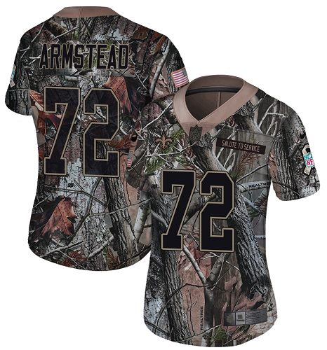 Nike Saints #72 Terron Armstead Camo Women's Stitched NFL Limited Rush Realtree Jersey