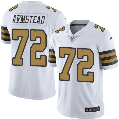 Nike Saints #72 Terron Armstead White Men's Stitched NFL Limited Rush Jersey