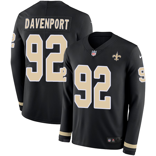 Nike Saints #92 Marcus Davenport Black Team Color Men's Stitched NFL Limited Therma Long Sleeve Jersey