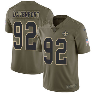 Nike Saints #92 Marcus Davenport Olive Youth Stitched NFL Limited 2017 Salute to Service Jersey