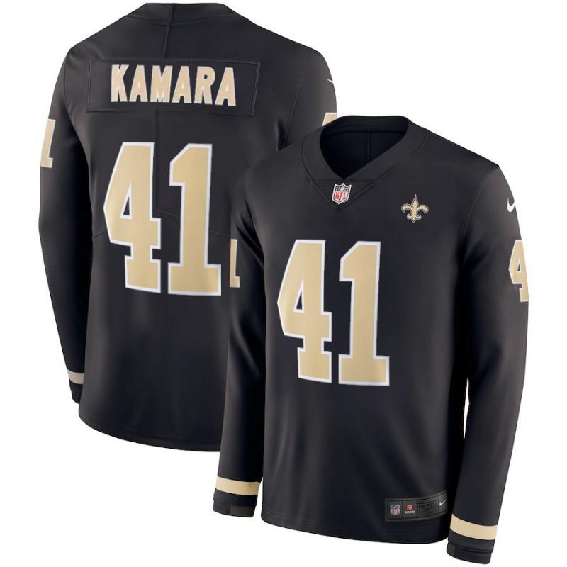 Nike Saints 41 Alvin Kamara Black Therma Long Sleeve Jersey