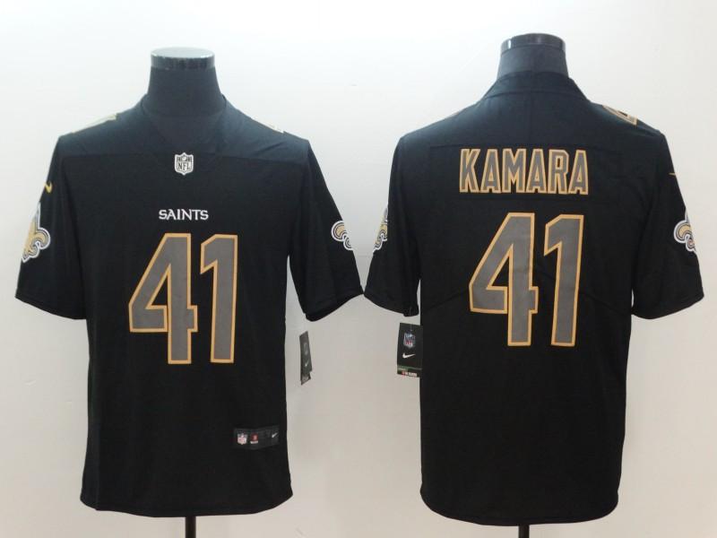 Nike Saints 41 Alvin Kamara Black Vapor Impact Limited Jersey