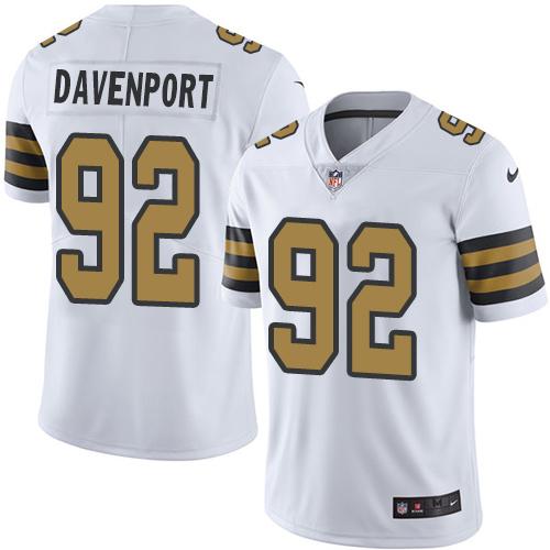 Nike Saints 92 Marcus Davenport White Color Rush Limited Jersey