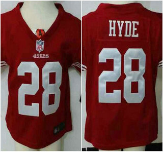 Nike San Francisco 49ers Jersey 28 Carlos Hyde Red Toddlers Stitched Jerseys
