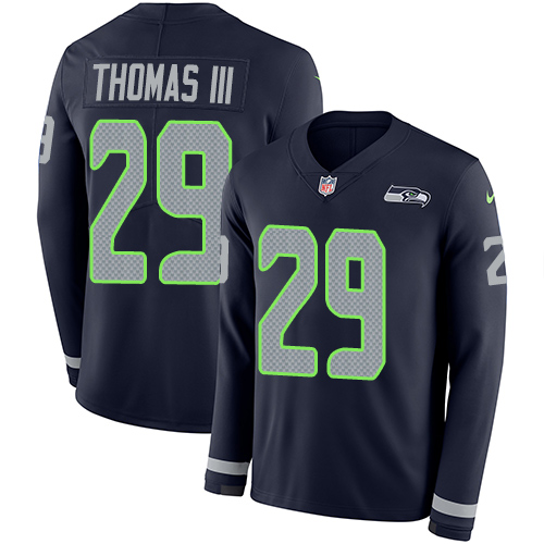 Nike Seahawks #29 Earl Thomas III Steel Blue Team Color Men's Stitched NFL Limited Therma Long Sleeve Jersey