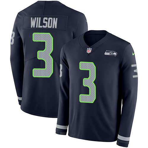 Nike Seahawks #3 Russell Wilson Steel Blue Team Color Men's Stitched NFL Limited Therma Long Sleeve Jersey
