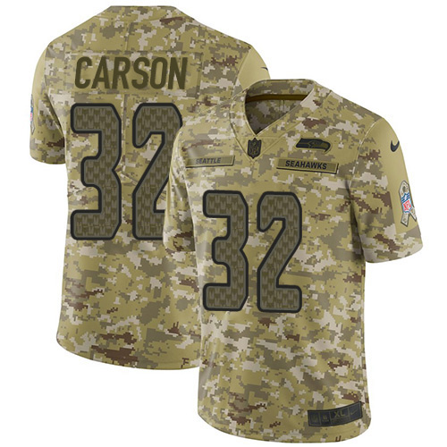 Nike Seahawks #32 Chris Carson Camo Men's Stitched NFL Limited 2018 Salute To Service Jersey