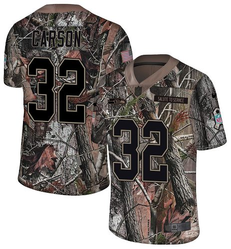 Nike Seahawks #32 Chris Carson Camo Men's Stitched NFL Limited Rush Realtree Jersey