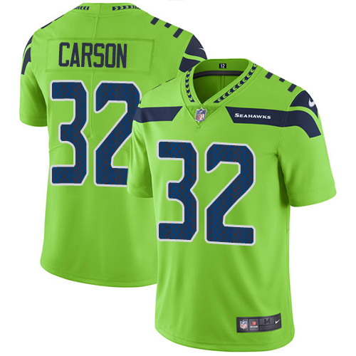 Nike Seahawks #32 Chris Carson Green Men's Stitched NFL Limited Rush Jersey