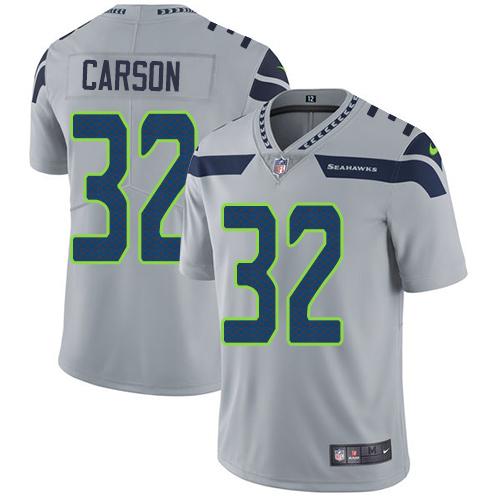 Nike Seahawks #32 Chris Carson Grey Alternate Men's Stitched NFL Vapor Untouchable Limited Jersey
