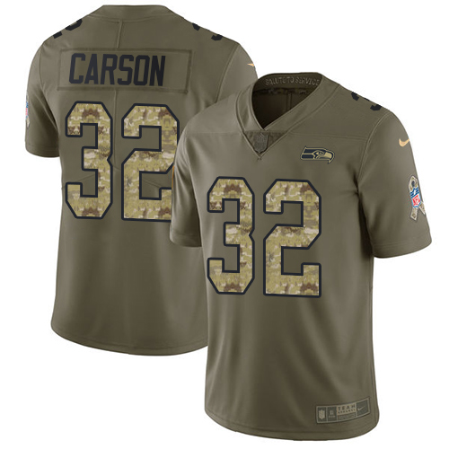 Nike Seahawks #32 Chris Carson Olive Camo Men's Stitched NFL Limited 2017 Salute To Service Jersey